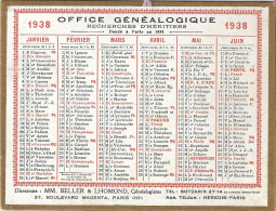 AUBARET & SAINT-CYR  LYON  1938  RECHERCHES D'HERITIERS- ARCHIVES GENEALOGIQUES 13X17CM - Calendriers