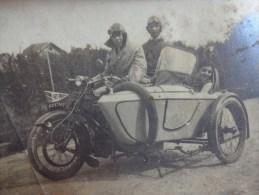 Photo Side Car 11x8cm Noir Et Blanc Personnages A Identifier- - Photographie