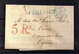 "1834 PARIS, CARTA COMPLETA CIRCULADA A CÁCERES , FECHADOR ,MARCA "" P. PAYÉ PARIS "" Y PORTEOS - 1801-1848: Precursores XIX"