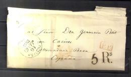 "1843 LOUVIERS, CARTA COMPLETA CIRCULADA A CÁCERES , FECHADOR ,MARCA "" P. P. "" PORTEO, TRÁNSITOS Y LLEGADA AL DORSO - 1801-1848: Precursores XIX"
