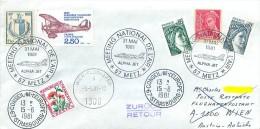 Enveloppe Journée De La Philatélie - Meeting National De L' Air METZ 1981 + Taxe, Conseil De L Europe Strasbourg - Marcophilie (Lettres)