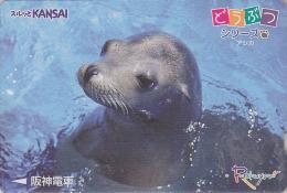 Carte Prépayée Japon / Série Animaux Rakuyan - PHOQUE OTARIE - SEAL Japan Prepaid Card - ROBBE - Japan