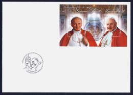 """2014 VATICANO """"CANONIZZAZIONE GIOVANNI PAOLO II E GIOVANNI XXIII"""" FDC FOGLIETTO - FDC"""