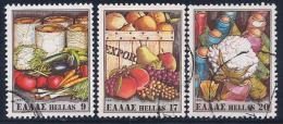 Greece, Scott # 1382-4 Used Vegetables, 1981 - Greece