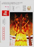 Three-heads Six-arms Buddhism Statue,China 2003 Henan Buddhism Temple Advertising Pre-stamped Card - Buddhism