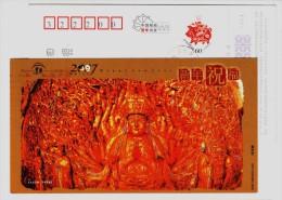 UNESO World Heritage Dazu Stone Carving Thousand Hands Guanyin Figure Of Buddha,CN07 Chongqing New Year Greeting PSC - Buddhism