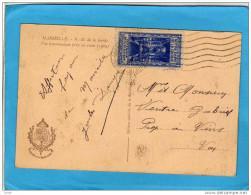 Carte Marseille-ND De La Garde MARSEILLE-oblitération Plume Recto-verso Vignette  Prise Pour Timbre Oblitérée 1935 TTB - Commemorative Labels