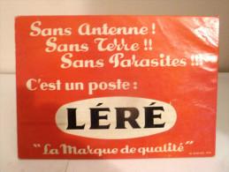 """Rare - Publicité Sur Carton Pour Poste Radio Élecctrique  """" Léré """"   ( 2 Scans ) - Radio & TSF"""