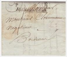 MP PETITE POSTE BORDEAUX Sur Lettre De PAREMPUYRE Pour BORDEAUX Taxe 1 Du 16.4.1806 - Marcophilie (Lettres)