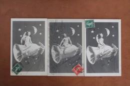 PETITE  FILLE    AVEC   FUSEE  ET   LUNE      3  CARTES - Astronomie