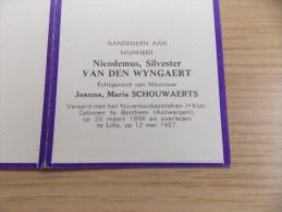 Doodsprentje Nicodemus Silvester Van Den Wyngaert Berchem 26/3/1898 Lillo 12/5/1957 ( Joanna Maria Schouwaerts ) - Religione & Esoterismo
