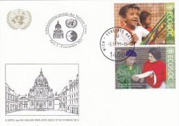 3.11.2011  -  UNPA-Postkarte  -  Siehe Scans  (un,vie 732-733) - Centre International De Vienne