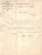 ESPAGNE - EIBAR - INCRUSTACIONES , DAMASQUINADOS - IGNACIO JOSUE - LETTRE - 1908 - Espagne