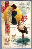 AK MOTIV Spruche Storch 1900-04-28 Litho #5212 - Contes, Fables & Légendes