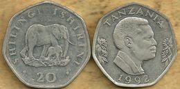 TANZANIA 20 SHILLINGI ELEPHANT ANIMAL FRONT MAN HEAD BACK 1992 KM23 VF READ DESCRIPTION CAREFULLY!!! - Tanzania