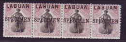 "LABUAN 1897 1c STRIP OVERPRINTED ""SPECIMEN"" - Great Britain (former Colonies & Protectorates)"