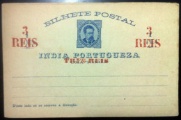 PORTUGAL - Stationery / Inteiro Postal BILHETE POSTAL ÍNDIA PORTUGUEZA 1 Tanga Surcharged 3 Reis - UNUSED - Ganzsachen