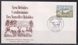 = Condominium Des Nouvelles Hébrides Taureau Charolais Enveloppe 1er Jour Port Vila 29.4.75 N°408 - FDC