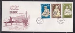 = Condominium Des Nouvelles Hébrides Noël 1975 Enveloppe 1er Jour Port Vila 11.11.75 Avec 3 Timbres N°418, 419 Et 420 - FDC