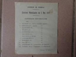 Affiche Commune De Chabrac-- Elections Municipales Du 5 Mai 1912 Candidats Republicains + Anotations Au Verso - Posters