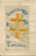 """FANTAISIE MILITARIA GUERRE 14/18 BRODEE : """" Souvenir De Lorraine """" Croix Chardon Voyagée En 1917 - Embroidered"""