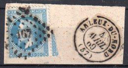 """FRANCE : PC DU GC 167 . """" ARLEUX DU NORD """" . (57) . N° 29 . TB  . SUR FGT . - Marcophily (detached Stamps)"""