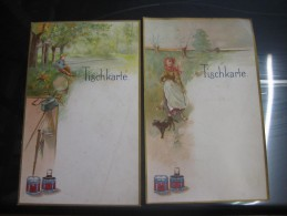 CIBILS 6 MENU Cards Before 1914 Cartes Fishing RARE Chromo Litho Meat Extract - Liebig