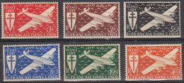 India, 1942 - Cross Of Lorraine & Four-motor Plane - Nr.C1/C6 MNH** - India (1892-1954)