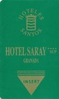 HOTEL SARAY GRANADA Llave Key Clef Keycard Karte - Hotel Labels