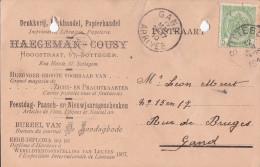 ZOTTEGEM-DRUKKERIJ-HAEGEMAN-COUSY-RECLAMEKAART-PUBLICITEIT-1910-PERFORATIEGAATJES-ZIE 2 SCANS - Zottegem