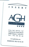 HOTEL AGH ESTEPONA, GRUPO G OJEDA EN REVERSO Llave Key Clef Keycard Karte - Etiquettes D'hotels