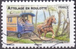 Oblitération Moderne Sur Autoadhésif De France N°  820 - Faune - Chevaux De Trait - Attelage En Roulotte - France