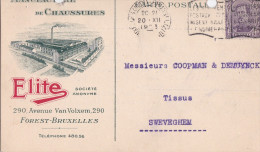 FOREST-MANIFACTURE DE CHAUSSURES-ELITE-CARTE PUBLICITAIRE-ENVOYEE-1923-2 TROUS DE PERFORATION-VOYEZ 2 SCANS! - Vorst - Forest