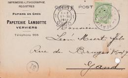 VERVIERS-IMPRIMERIE-PAPETERIE-LAMBOTTE-CARTE PUBLICITAIRE-ENVOYEE-1912-2 TROUS DE PERFORATION-VOYEZ 2 SCANS! - Verviers