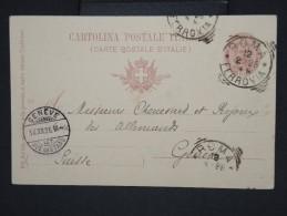 ITALIE-Entier Postal De Rome Pour Genéve En 1896        à Voir  P6054 - 1878-00 Umberto I