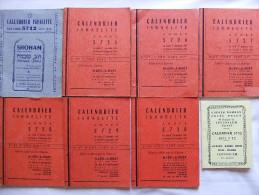 LOT CALENDRIER ISRAELITE 5712 A 5732 1951 1971 CULTURE JUIVE JUDAICA - Religion