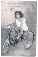 CPA Circulée En 1905, Petite Fille, Fillette Sur Un Tricycle , Vélo, Alterocca-Terni N° 2509, 2 Scans - Children