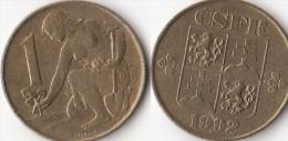 CECOSLOVACCHIA 1 Koruna 1992 KM#151 - Used - Cecoslovacchia