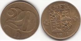 CECOSLOVACCHIA 20 Haleru 1991 KM#143 - Used - Cecoslovacchia