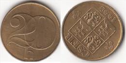 CECOSLOVACCHIA 20 Haleru 1992 KM#143 - Used - Tchécoslovaquie