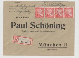 W242/ Rheinland 10 Pfg. Im 4-er Streifen Und Provisorischem R-Zettel Harpolding - Deutschland