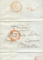 Año 1850 Prefilatelia Carta Madrid A Marcilla Marcas Madrid, Caparroso - ...-1850 Prefilatelia