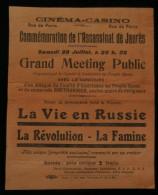 ( TOURS Indre-et-Loire) Programme Cinéma-Casino Assassinat  De Jaurès  La Vie En RUSSIE ( Film) 1920 - Programmi