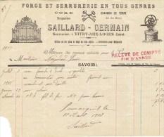 Facture De 1907  SAILLARD  GERMAIN - Serrurier à VITRY Aux LOGES - Petits Métiers