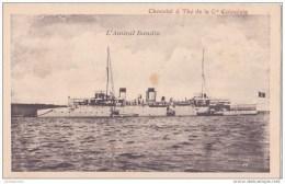 TRANSPORTS MILITAIRE BATEAUX GUERRE AMIRAL BAUDIN CARTE PUBLICITE CHOCOLAT THE COLONIALE - Guerre