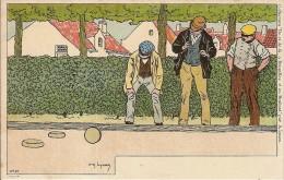 JEUX DE BOULE A BRUXELLES ET EN BRABANT-pétanque-bowling-illustrateur Amédée Lynen - Bocce