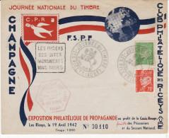 Enveloppe - Journée Du Timbre - LES RICEYS - 19 Avril 1942 (Plus Flamme Daguin) (Lot JT 1) - ....-1949
