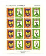 Padania - Foglietto: Italia Stato Federale -19° Emissione - Etichette Di Fantasia