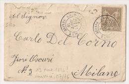 LA MOTTE SERVOLEX Savoie Sur Envelope Au Type SAGE Pour Milan. - Marcophilie (Lettres)