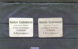Comines Boulangerie - épicerie Hottebart - Vandermeersch - 2 Bons 1 Et 3 Personnes. Non Répertoriés ? - Bons & Nécessité